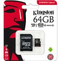 KINGSTON MICRO SDXC 64 GB CANVAS SELECT CLASS 10 UHS-I + ADAPT (80/10 MBs)