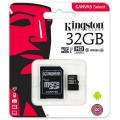 KINGSTON MICRO SDHC 32 GB CANVAS SELECT CLASS 10 U1 UHS-I + ADAPT (80/10 MBs)