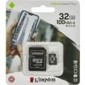 KINGSTON MICRO SDHC 32 GB CANVAS SELECT PLUS CLASS 10 UHS-I U1 A1 С АДАПТЕРОМ (100/85 MBs)